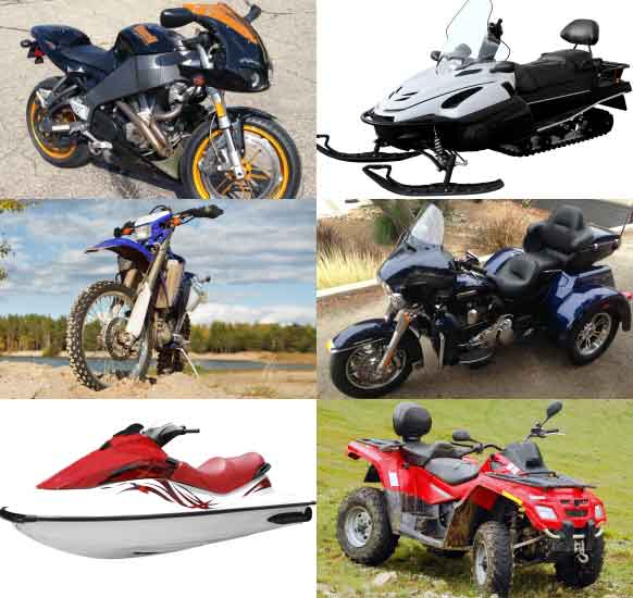 motorcycle, ATV, campers, watercraft, dirt bike